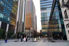People walking at business district in Tokyo, Japan.  Royalty Free Stock Photos