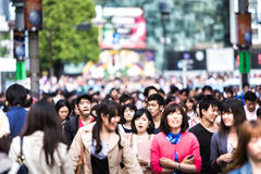 People walking at a busy street in Tokyo, Japan Royalty Free Stock Images