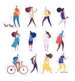 People walking. Cartoon persons walk street. Men and women crowd vector isolated collection stock illustration