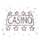 People walking in a casino . 3D rendering. royalty free illustration