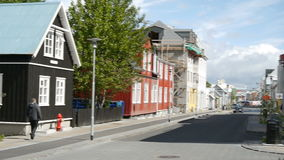 People walking in the center of Reykjavik. Iceland stock footage