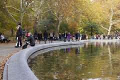 People walking through Central Park Royalty Free Stock Image
