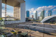 People walking in the central square of La defense. Stock Photos