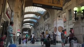 People walking in Central station in Milan, ULTRA HD 4k, real time stock video