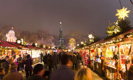 People walking in the Christmas markt of the Hyde Park`s winter WonderLand park, London Royalty Free Stock Photography