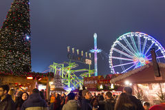 People walking in the Christmas markt of the Hyde Park`s winter WonderLand park, London Stock Photos