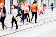 People walking in the city. Motion blur picture of unrecognizable people walking in the city Royalty Free Stock Photography