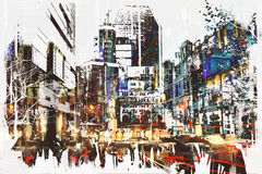 People walking in city with abstract grunge painting Royalty Free Stock Images