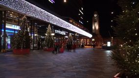 People walking in city center stock video footage
