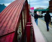 People walking on city street stock photo