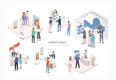 People walking among commercial promotional stands and talking to consultants and promoters advertising products or. Services at trade fair or exhibition stock illustration