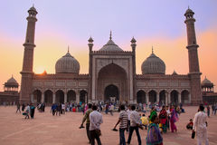 People walking in a courtyard of Jama Masjid at sunset, Delhi, I Royalty Free Stock Photos
