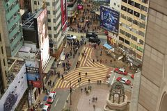 Aerial view of Causeway Bay Street stock photography
