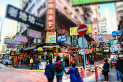 People walking at crowded streets. Hong Kong Royalty Free Stock Photography