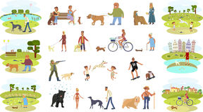 People walking with dogs. People walking with different breeds of dogs set. Isolated on white background vector illustration eps 10 Royalty Free Stock Photo