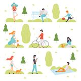 People Walking, Doing Sports, Relaxing in Park, Men and Women Enjoying Nature Outdoors, Leisure Outdoor Activities. Vector Illustration on White Background vector illustration