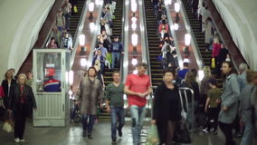 People walking down the escalator in the metro. On June 06, 2017 in Moscow/Russia stock footage