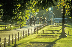 People Walking Down a Sidewalk, Boston, Massachusetts Royalty Free Stock Photo