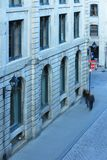 People walking down a sidewalk in Old Montreal Canada royalty free stock photos