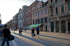 People walking down Via Garibaldi, Venice royalty free stock photos