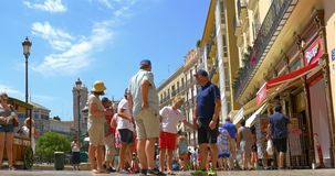 People Walking Downtown Valencia City In Spain stock footage
