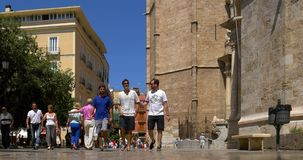 People Walking Downtown Valencia City In Spain stock video footage