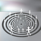 People Walking on a Downward Spiral Path. An image of a people walking along a downward spiral path vector illustration