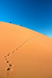 People walking on dune and footprints. People walking high on dune in Erg Chigaga desert with footprints leading to them Royalty Free Stock Photos