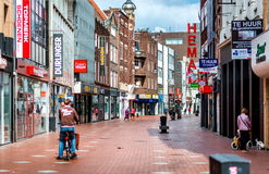 People walking in the Eindhoven main commercial street Royalty Free Stock Photos