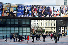 People walking by European Parliament's Leopold Square Royalty Free Stock Image