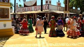 People walking at the fair, Jerez de la Frontera stock footage