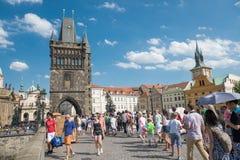 People walking on the famous Charles Bridge - Prague Stock Image