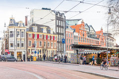 People walking in the famous flower market in Amsterdam Stock Image