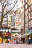 People walking in the famous flower market in Amsterdam Stock Photography