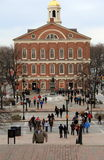 People walking through Faneuil Hall,Boston,2014 Royalty Free Stock Images