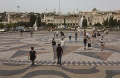 People walking on the floor wind rose of Belem Royalty Free Stock Images