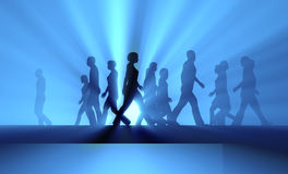 People walking in the fog. Crowd of people walking in the fog Stock Photography