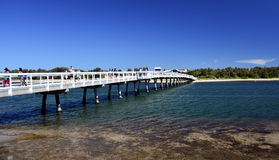 People walking on the footbridge at Lakes Entrance Royalty Free Stock Images