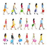 People Walking Forward with Shopping Bags Stock Images