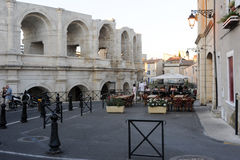 People walking in front of the amphithater at Arles Royalty Free Stock Photography
