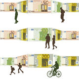 People walking front of a background bills. People walking with a background walls are made of bills of 50, 100 and 200 euros royalty free illustration