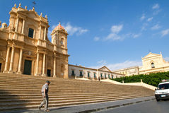 People walking in front of the cathedral at Noto Royalty Free Stock Photo