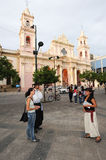 People walking in front of the cathedral of Salta on northen Arg Stock Images