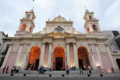 People walking in front of the cathedral of Salta on northen Arg Royalty Free Stock Image