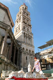 People walking in front of Diocletian palace in Split Royalty Free Stock Images