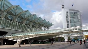 People walking in front of the Gare do Oriente Orient Station in Lisbon