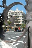 People walking in front of La Pedrera at Barcelona Stock Image