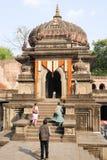 People walking in front of Maheshwar palace on India Royalty Free Stock Image