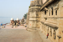 People walking in front of Maheshwar palace on India Royalty Free Stock Photo