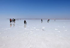 People walking on the frozen salt, in Turkey Stock Images